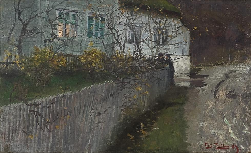 Frits Thaulow - Ved en gammel prestegård Près d'un vieux presbytère, 1889 Huile sur toile 1451s.jpg