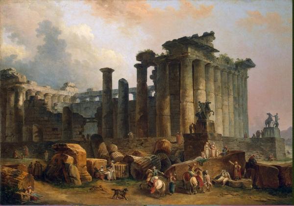 Hubert Robert - Ruines d un temple dorique 1783- Musee de l Ermitage St Petersbourg.jpg