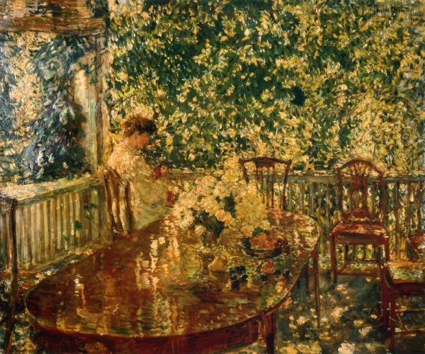 Summer Porch at Mr and Mrs C E S Wood Hassam 1914.jpg