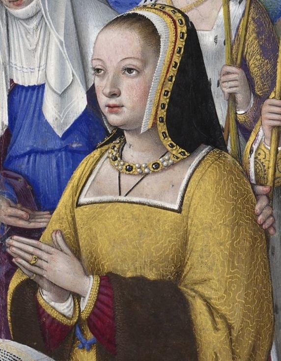 BNF_-_Latin_9474_-_Jean_Bourdichon_-_Grandes_Heures_d'Anne_de_Bretagne_-_f._3r_-_Anne_de_Bretagne_entre_trois_saintes_(détail).jpg